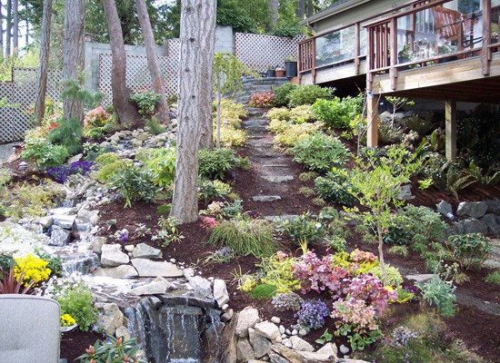 Landscaping and a waterfall turns a hilly yard into something inviting.