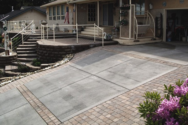 Concrete and pavers created this attractive driveway.