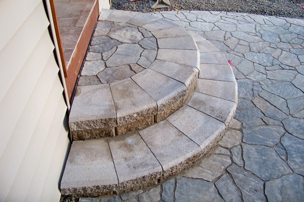 Stone steps add a sophisticated touch.