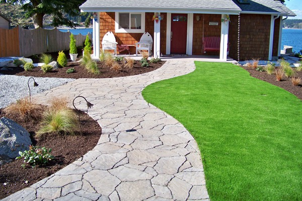 Stone walkway gives an elegant touch to any yard.